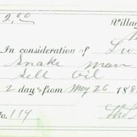 Snake Oil Vendor's License, 1881
