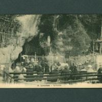 Lourdes postcard, black and white